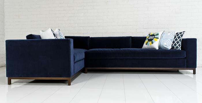 Custom Monte Carlo Sectional in Navy Velvet-Modern Sectionals : velvet sectionals - Sectionals, Sofas & Couches