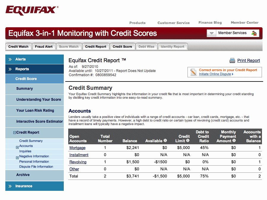 Fake Credit Report Luxury Equifax Credit Sample Equifax