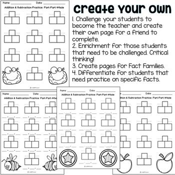 Addition Subtraction Worksheets Part Part Whole Strategy