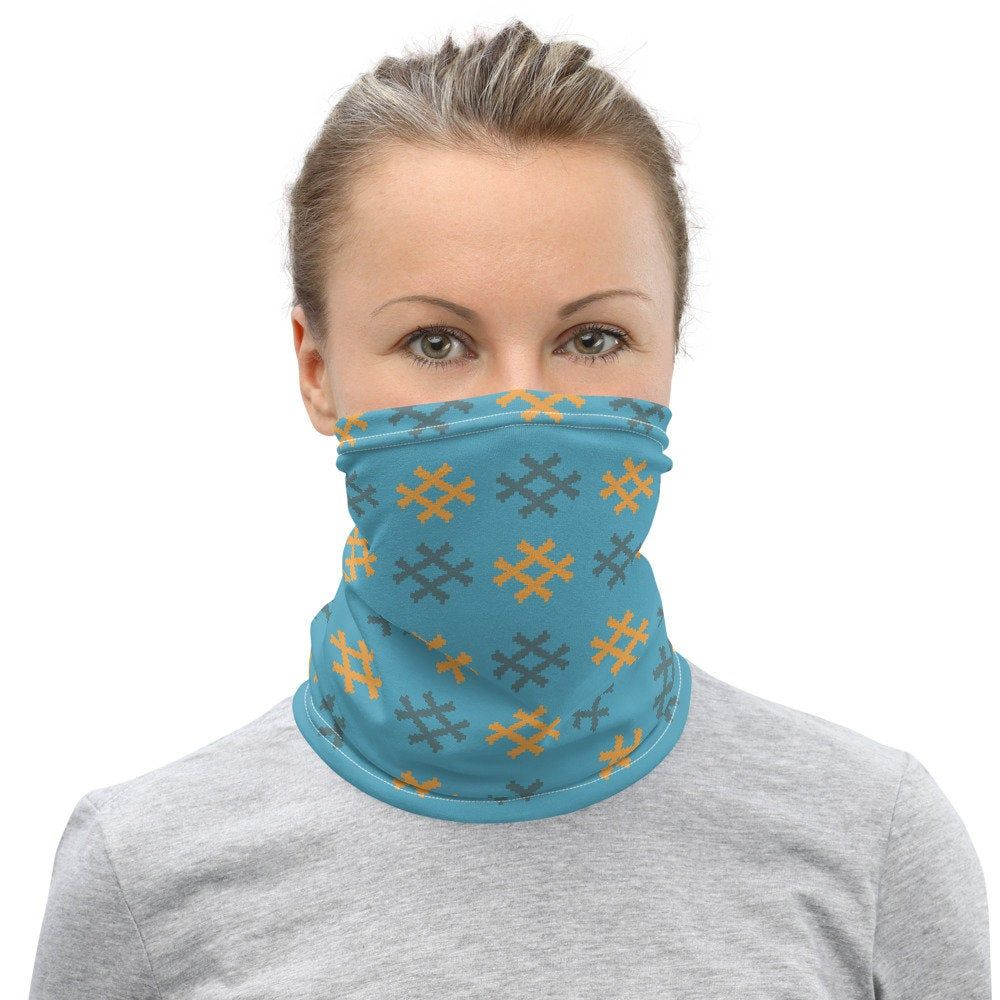 Neck Gaiter light blue peruvian Nazca weaving design