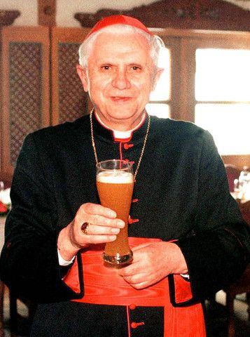 Cardinal Ratzinger enjoy a hefty glass of beer.