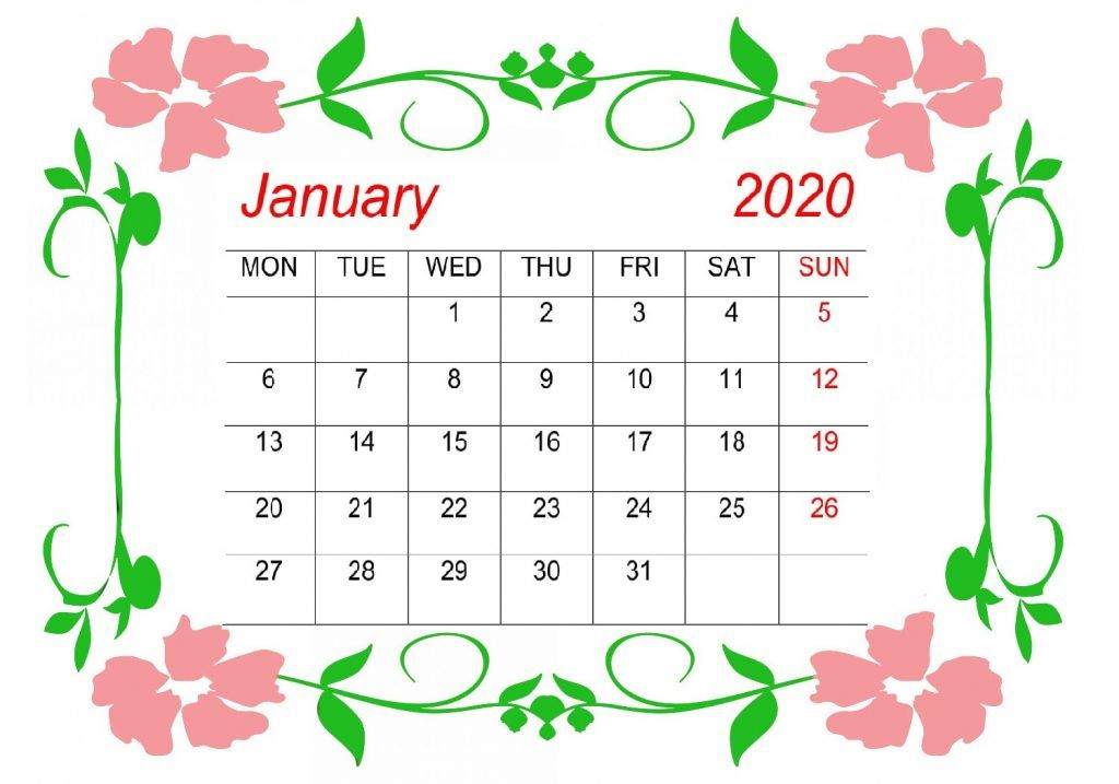 21 Cute January Calendar 2020 Floral Wallpaper For Desktop Iphone January Calendar Calendar Printables Printable Calendar