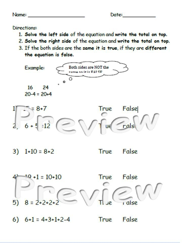 True & False Math Common Core Lesson Plan, Posters, and Worksheets ...