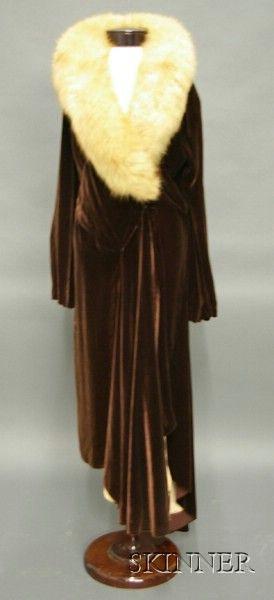 Vintage Madeleine Vionnet Burgundy Velvet and Silk Satin Fur Trimmed Evening Coat, French, labeled, 1930s.