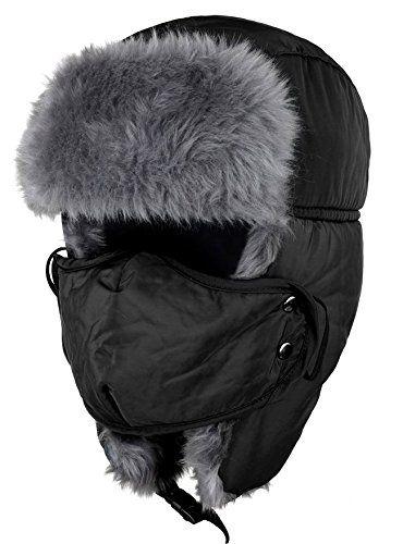 557f3f88314070 Fengsie Unisex Winter Ear Flap Hat Trooper, Trapper, Hunting Hat Ushanka  (Black)
