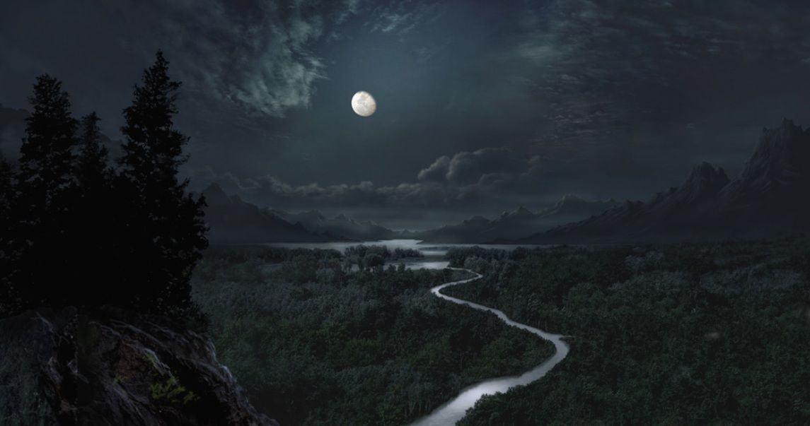 Forest At Night With Moon Moon Forest Lake Moon Mountain Night River Night Landscape Photography Night Landscape Night Forest