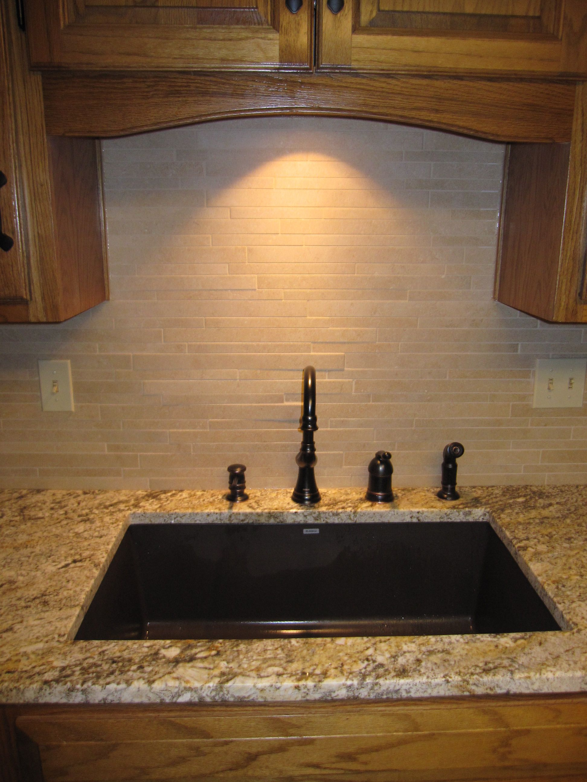 Granite Composite Sink In Kitchen, Granite Top, Travertine Backsplash And  Moen 4 Piece Faucet