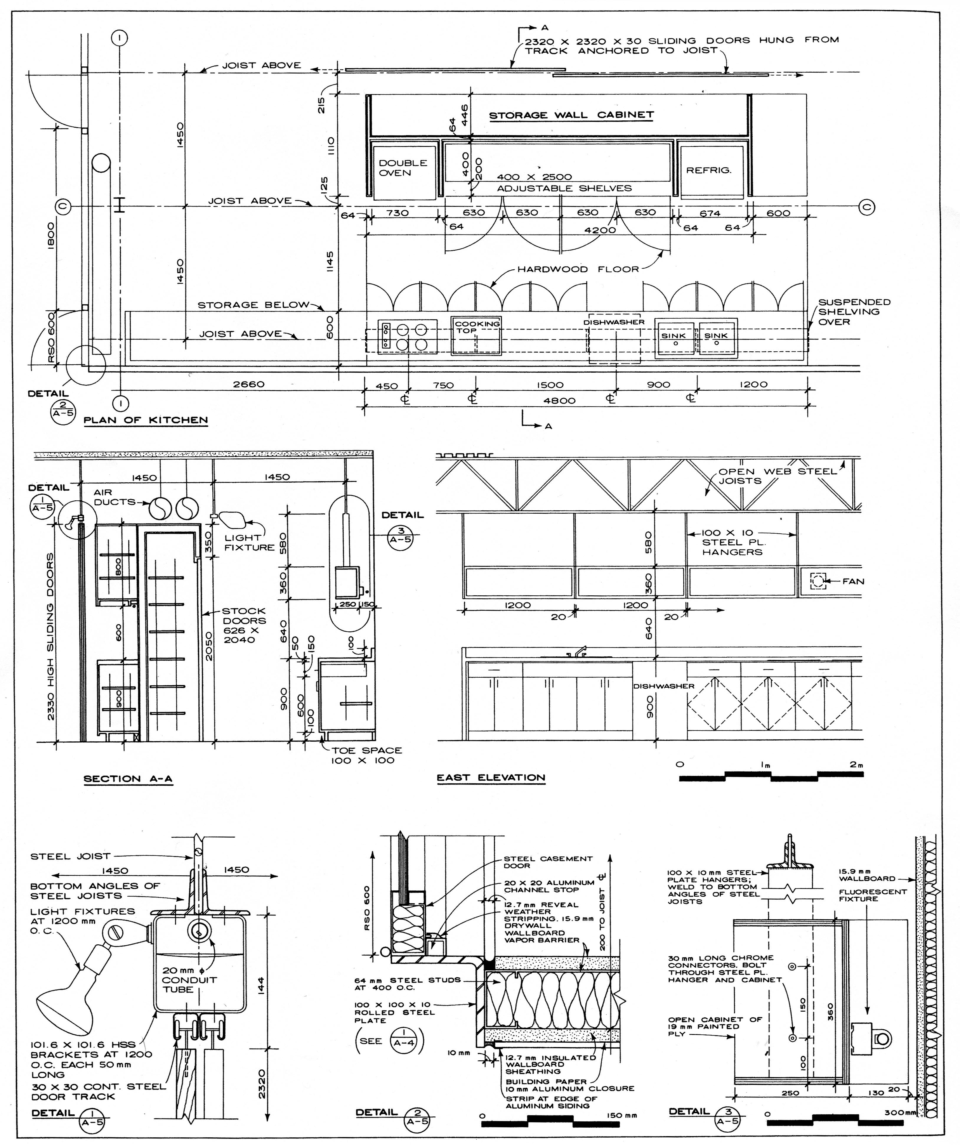 Plan enlargements interior elevations and details from the wolf residence