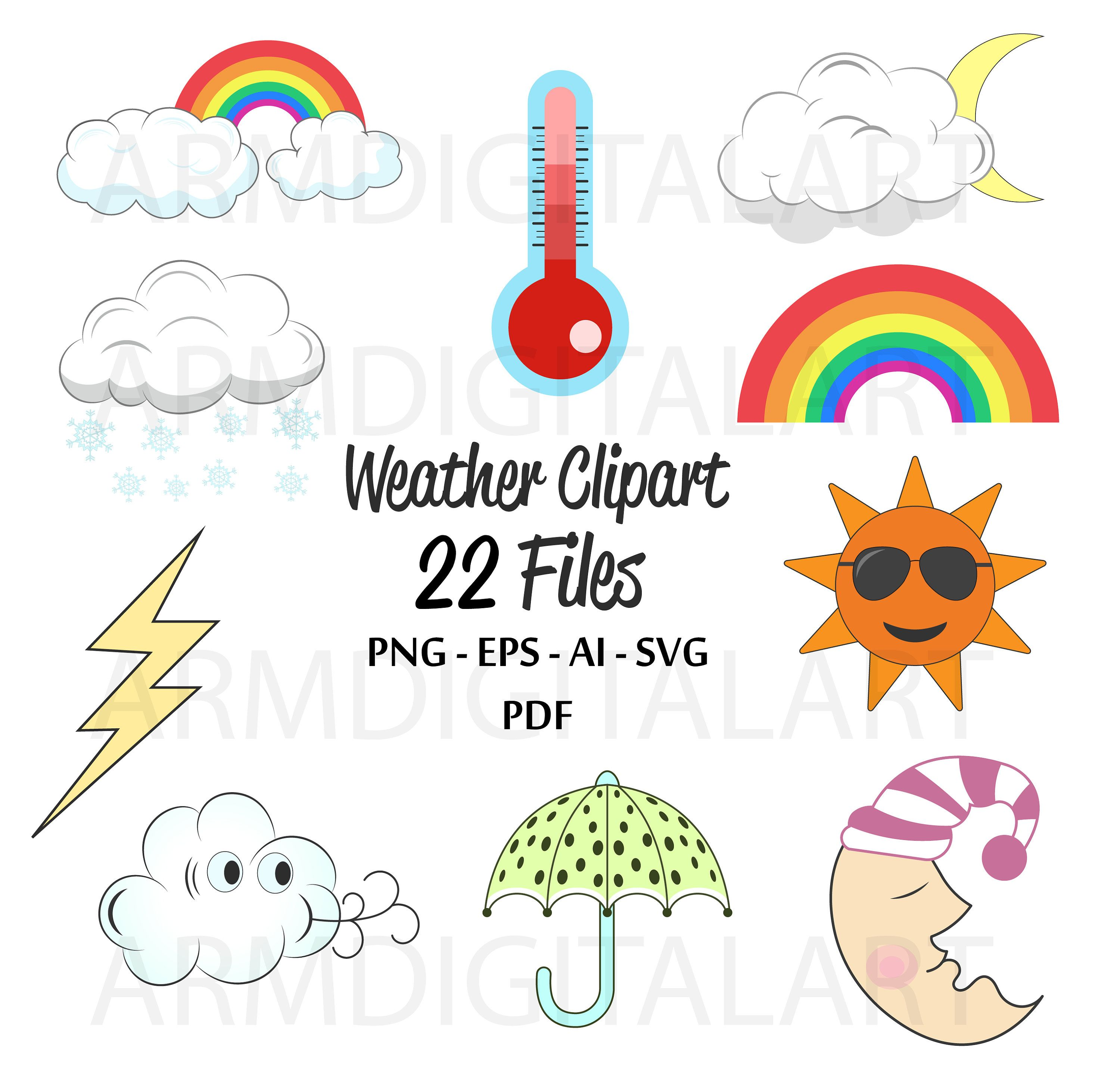 weather clipart weather graphics commercial use forecast clipart planner accessories weather icons cloud clipart sun vector files by armdigitalart  [ 3000 x 2882 Pixel ]