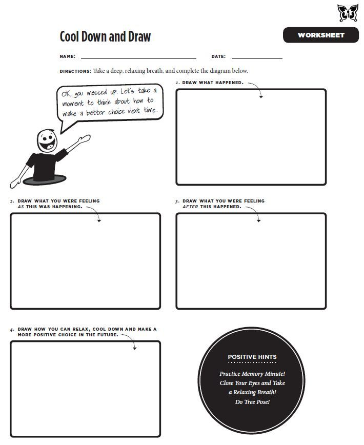 Cool Down and Draw worksheet from the Mindful Practices\' book: http ...