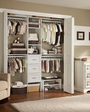 Nursery Closet Organization + I Love The Picture Frames Around The Room