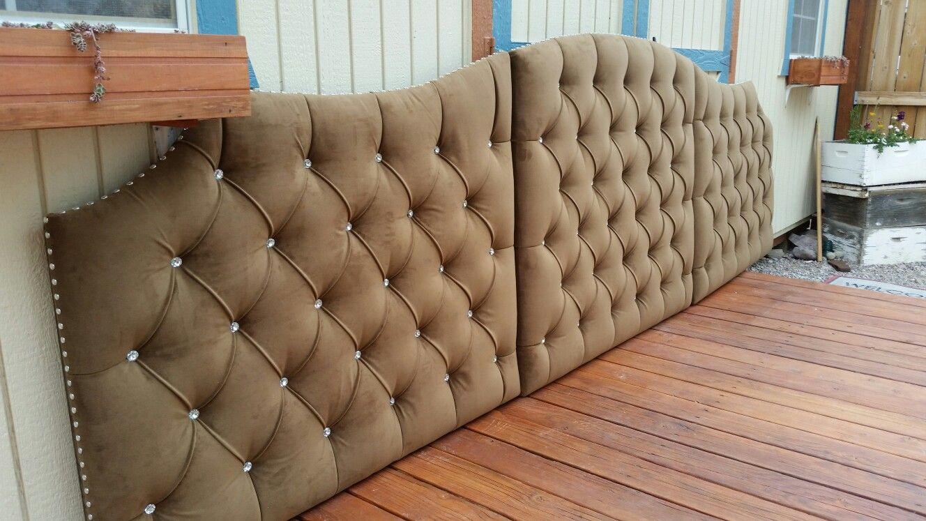 Extra large tufted upholstered velvet headboard custom
