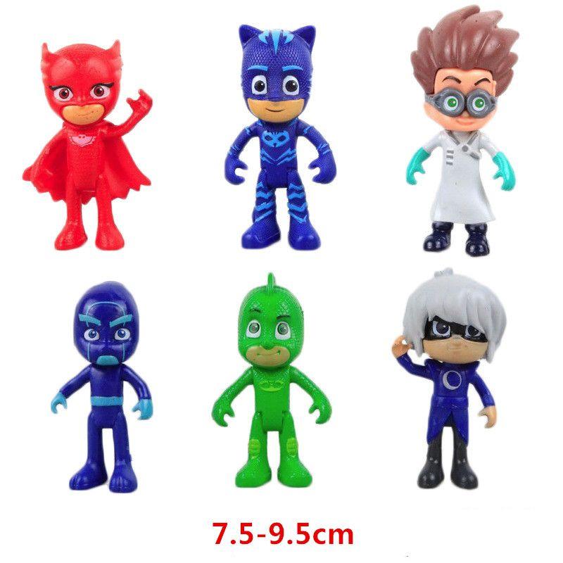 6 Stks/partij Pyjama Cartoon gemaskerde Tekens Catboy Owlette Gekko Mantel Action Figure Speelgoed Jongen Verjaardagscadeau Plastic Poppen
