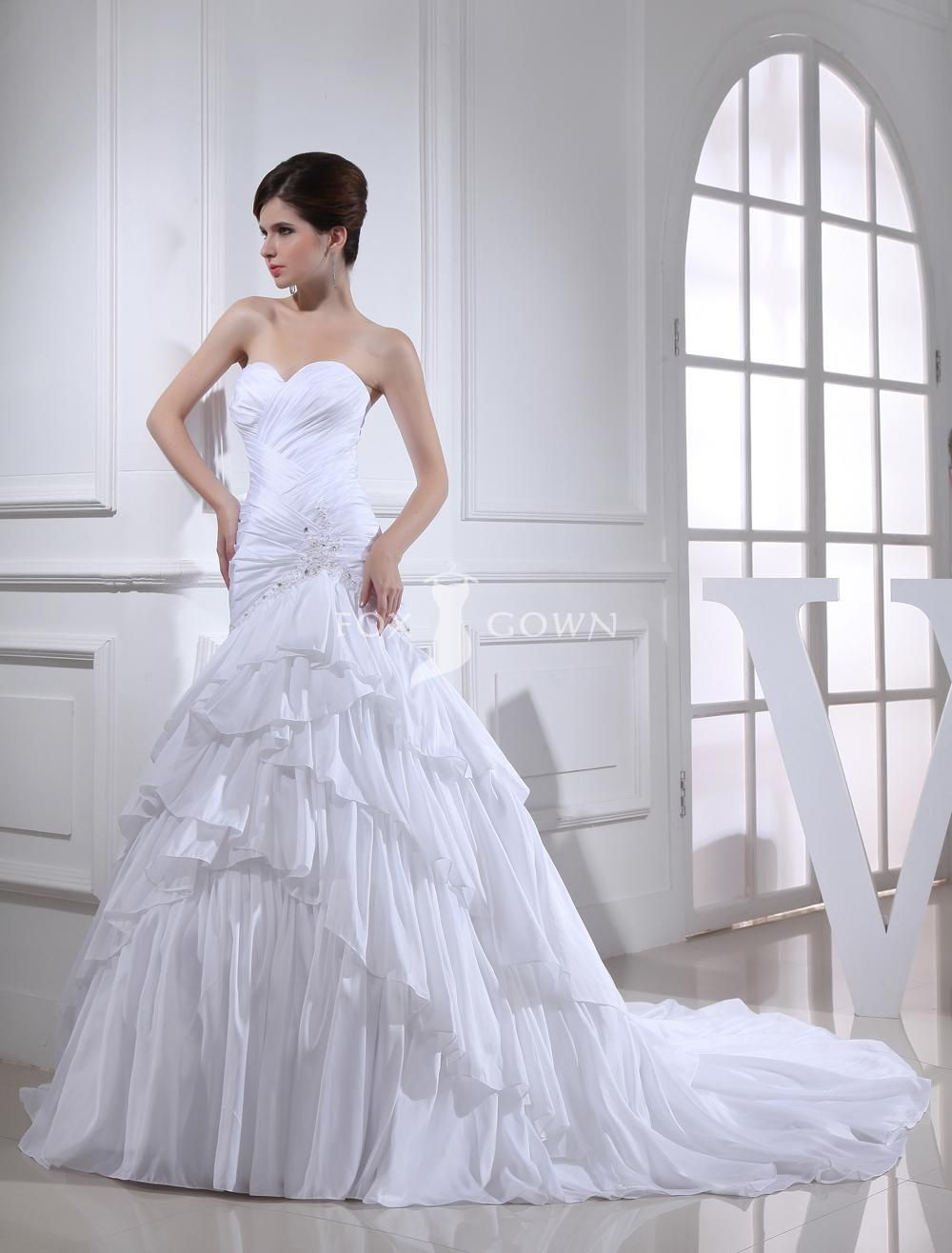 Wedding dress ruched skirt with ruffle