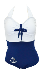 MAIÔ RETRÔ SAILOR ANCHOR BLUE S.S. #retro #vintage #polkadots #pinup #poá #maiôretro #maioretro #maiovintage #summer #modapraiaretro #retrô #maiô #maio #girl #May #swimsuit #retroswimsuit