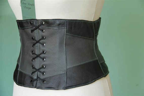 a719b2faac366d Light leather corset belt patchwork size 12/14(US) black and grey ...