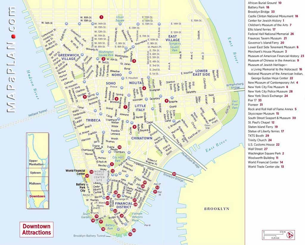 Nyc Map Of Downtown Downtown Manhattan Major Points Of Interest
