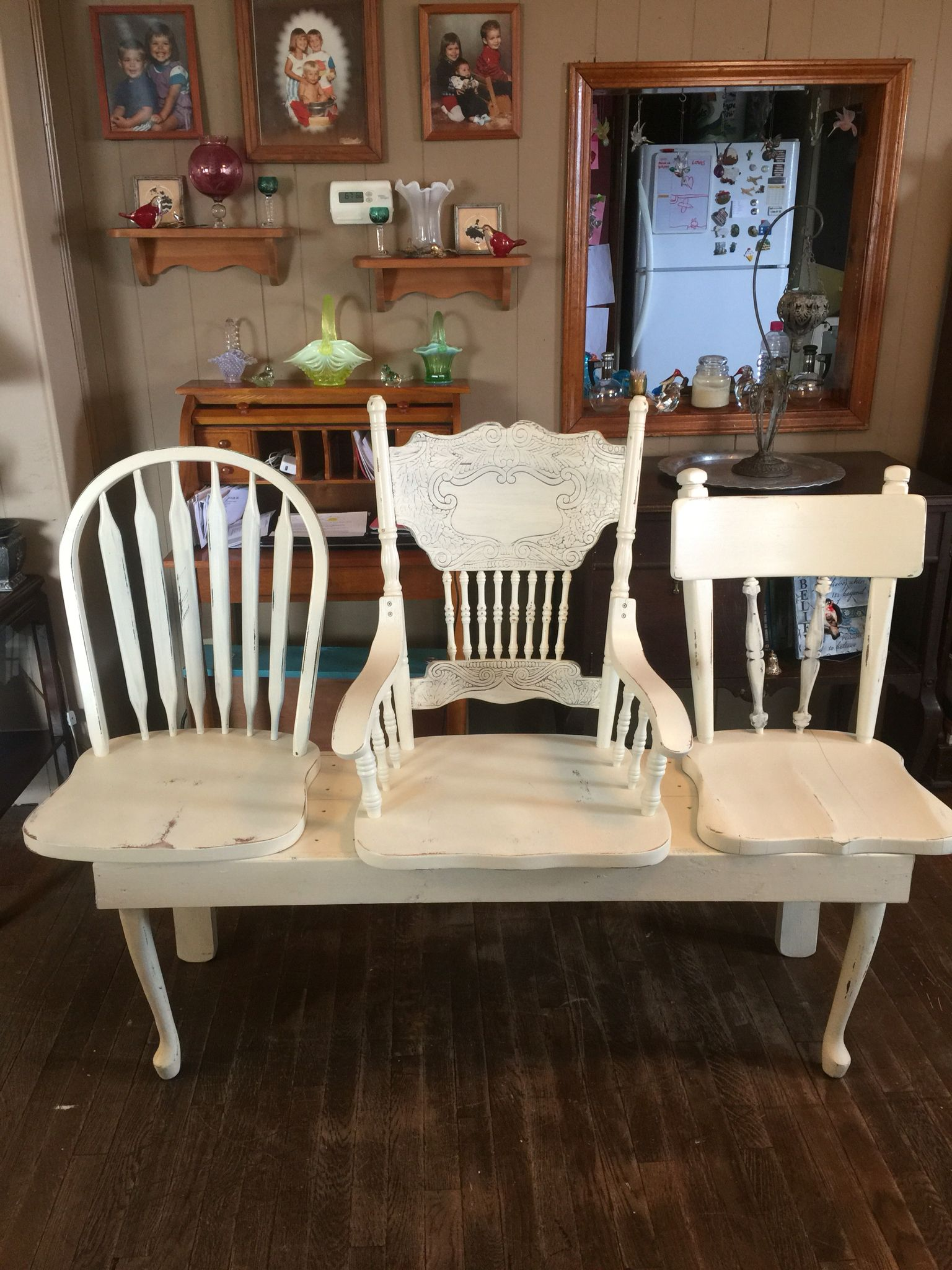 Prime Story Bench Made From 2 Oak Chairs And A Walnut Chair Base Andrewgaddart Wooden Chair Designs For Living Room Andrewgaddartcom