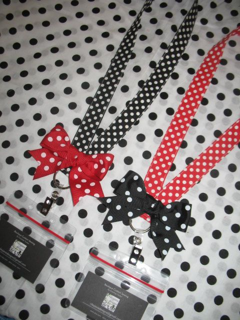 Disney Minnie Dot LANYARD with BOW ticket holder Cruise ID fast pass rileyjane designs. $12.00, via Etsy.