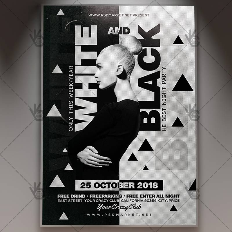 White And Black Party  Club Flyer Psd Template Black Club