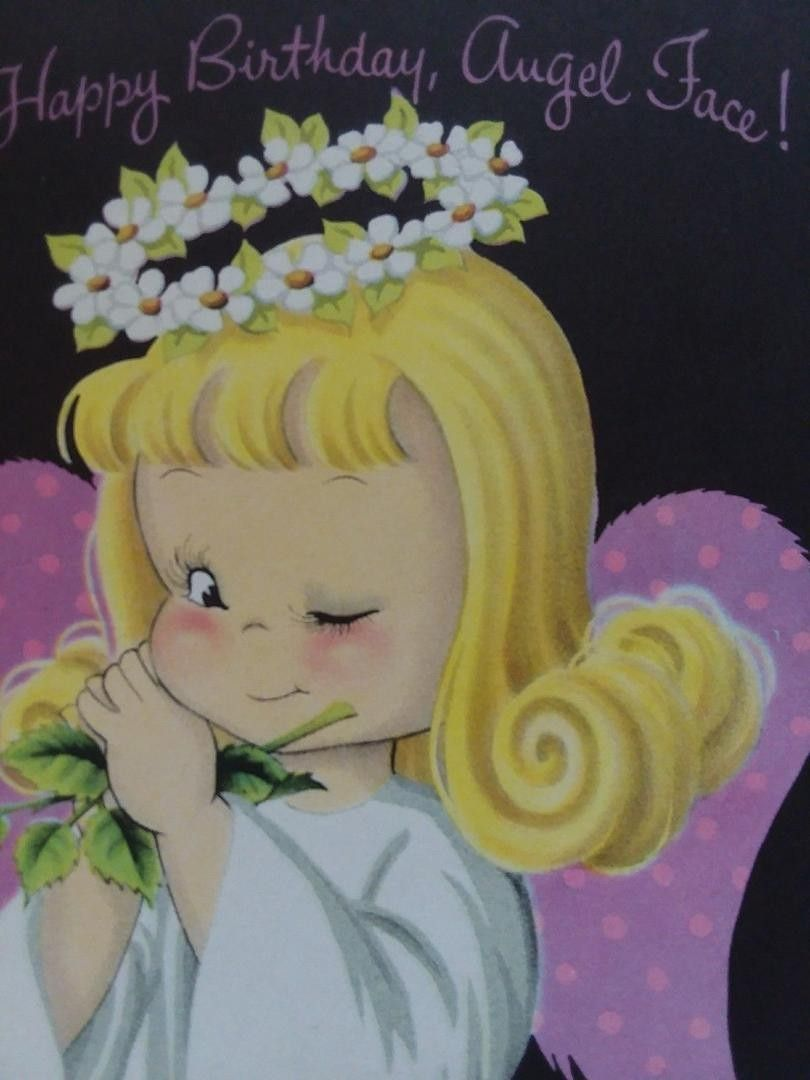 Vtg Angel Face Blonde Girl Winks Pink Wings Halo Norcross Birthday Greeting Card 1929301140 Vintage Birthday Valentines Cards Vintage Cards