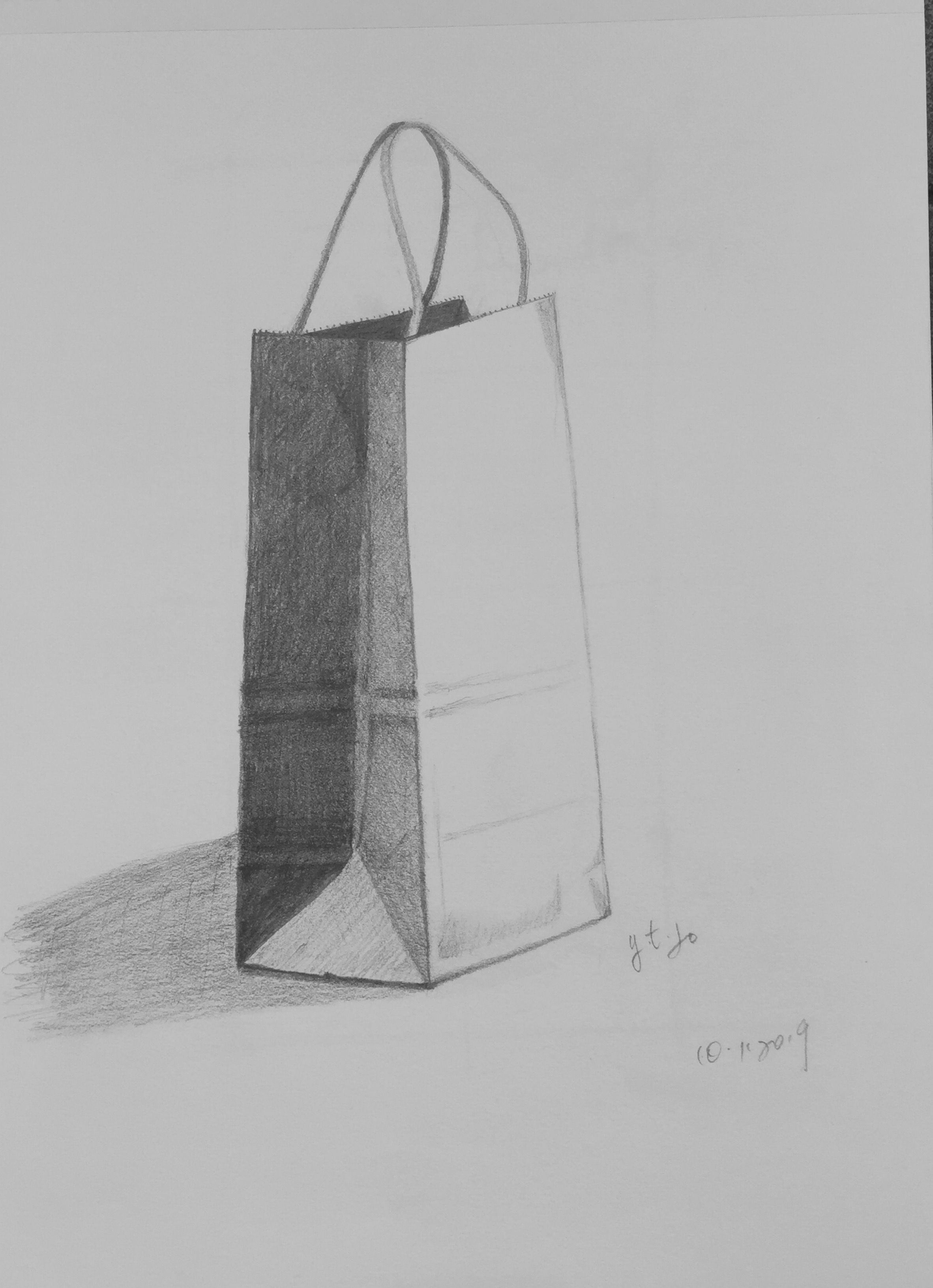 A plain paper bag sketch notes