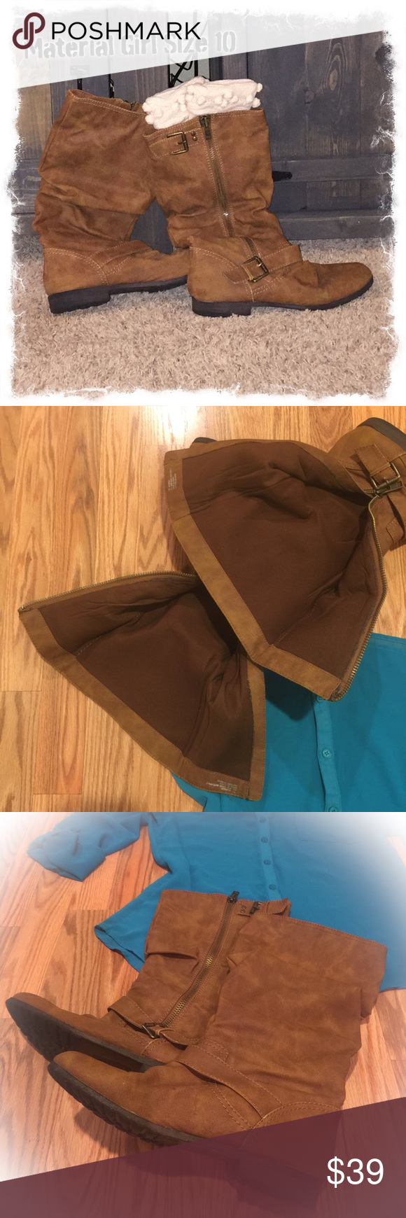 """💯LOWERED AGAIN DUE TO WEEKEND SHIPPING DISCOUNT💯 BEAUTIFUL TAN, WORE TWICE, MATERIAL GIRL, SLOUCHY BOOTS, MATERIAL GIRL, SIZE 10, 1/2"""" HERL! NO FLAWS TO REPORT! Material Girl Shoes Winter & Rain Boots"""