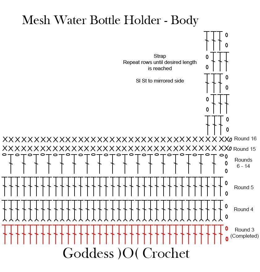 Free Crochet Pattern Chart Water Bottle Holder Fillet Crochet