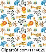 Clipart Background Of Cute Zoo Monkeys Owls Giraffes Zebras Lions And Elephants On White Royalty Free Illustration by Gina Jane