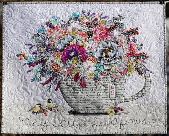 PAPER PATTERN Quilt Wall Hanging My Cup Overflows Full size pattern color photo