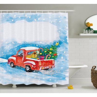 The Holiday Aisle Christmas Truck Single Shower Curtain