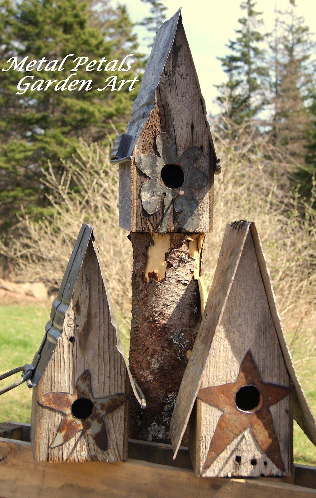 Metal Petals Garden Art Rustic Birdhouses Pinterest
