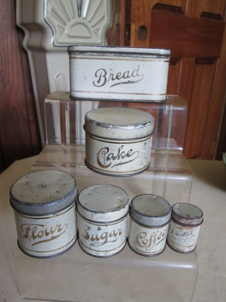 Vintage Child S Tin Canister 12 Pc Set Circa 1940 S Metal Package