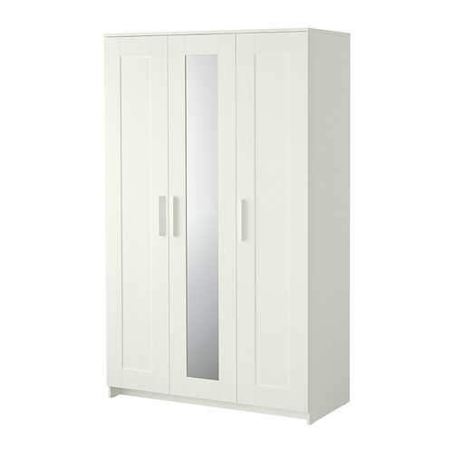 BRIMNES Wardrobe with 3 doors, white
