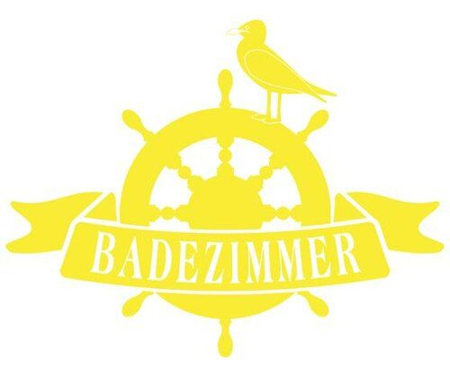 Badezimmer, Seagull Wall Sticker East Urban Home Size: 100 cm H x 130 cm W, Colour: Bright yellow