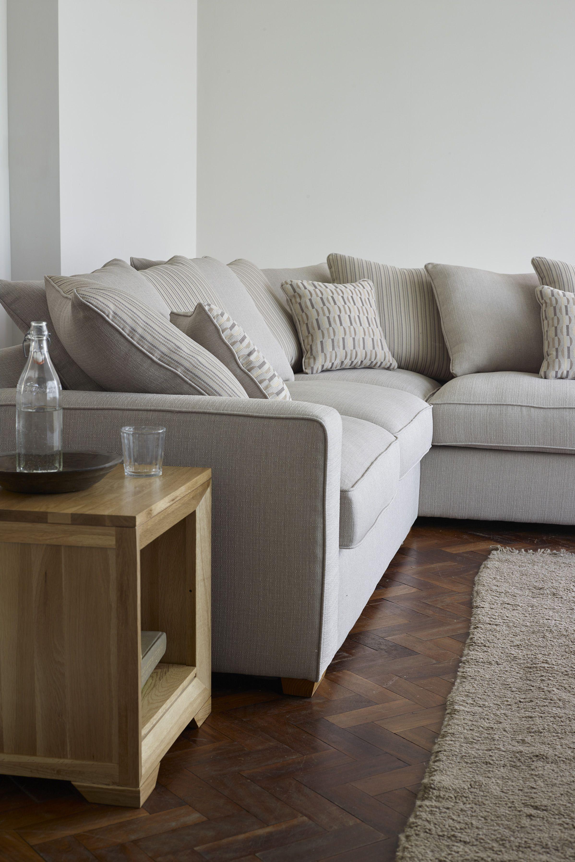Nebraska Pillow Back Left Corner Sofa In Aero Fawn With Duck Egg Fabric Storage Footstool Corner Sofa Design Corner Sofa Uk Living Room Corner