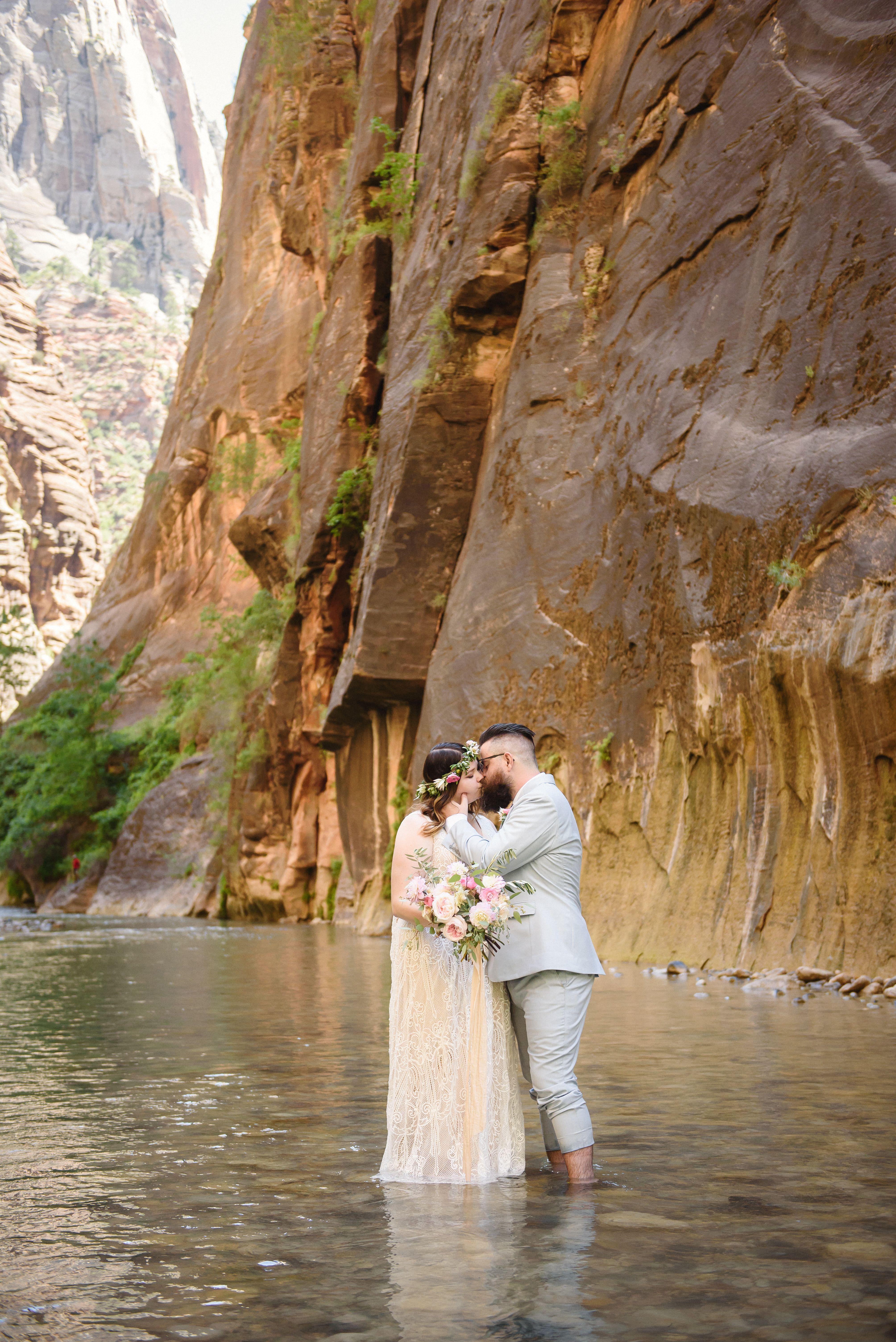 Zion National Park Wedding Photography Zion Narrows Water Park Weddings Zion National Park National Park Wedding