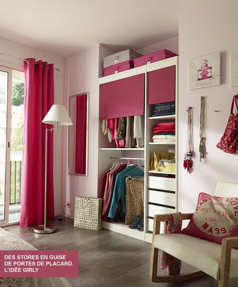 id e d co par castorama id e girly avec le store enrouleur perkin en guise de porte de placard. Black Bedroom Furniture Sets. Home Design Ideas
