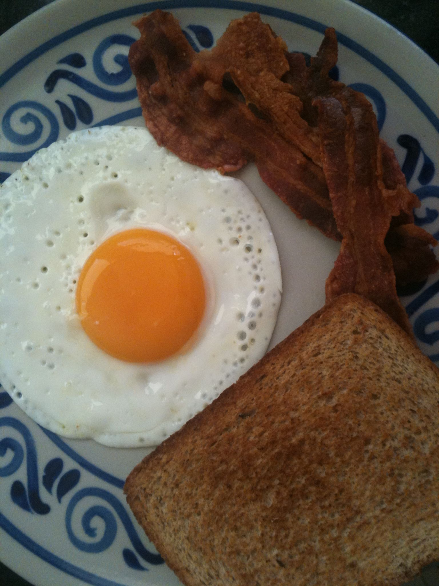 Sunny side up, bacon and toast.....