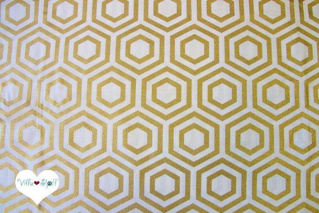 stoff grafische muster heavy metal hexagon stoff gold baumwollstoff ein designerst ck von. Black Bedroom Furniture Sets. Home Design Ideas