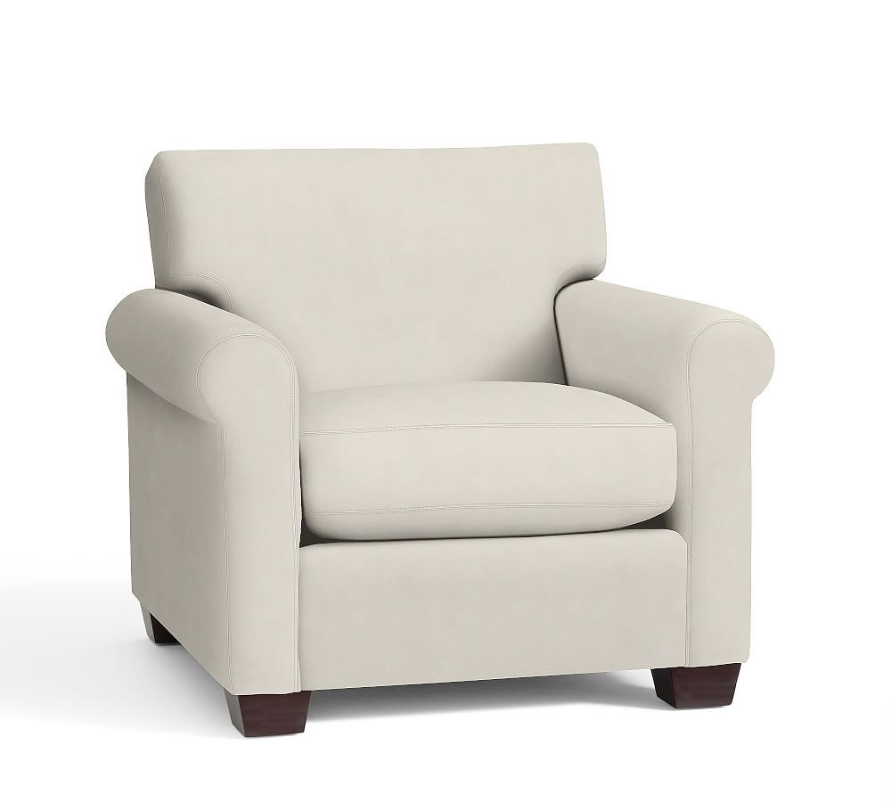 york roll arm upholstered armchair down blend wrapped cushions rh pinterest com
