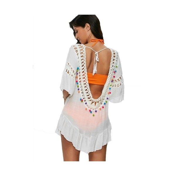 12792fcf0ba4e Blue Island Pom Pom Crochet Tunic Swim Cover Up