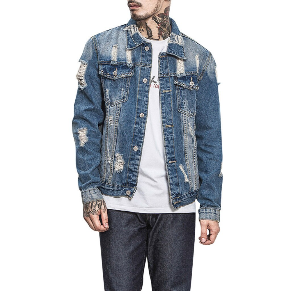Denim Shirt Men Jeans Shirt Fashion Autumn Slim Long Sleeve Hole Cowboy Shirt Stylish Wash Slim Fit Denim Jacket Men Long Sleeve Denim Jacket Denim Coat Jacket [ 1000 x 1000 Pixel ]