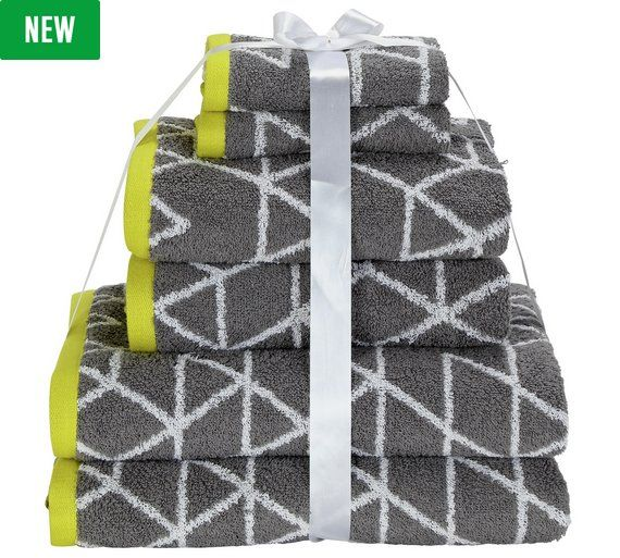 Buy HOME 6 Piece Towel Bale Geo Grey / Zest at Argos.co