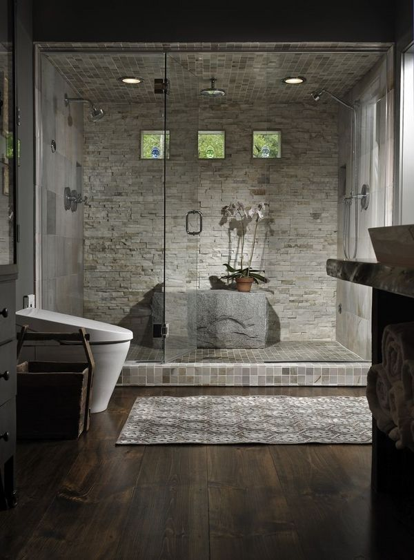 Unique Bathrooms Wood Flooring Walk In Shower Frameless Doors Natural Stone Wall