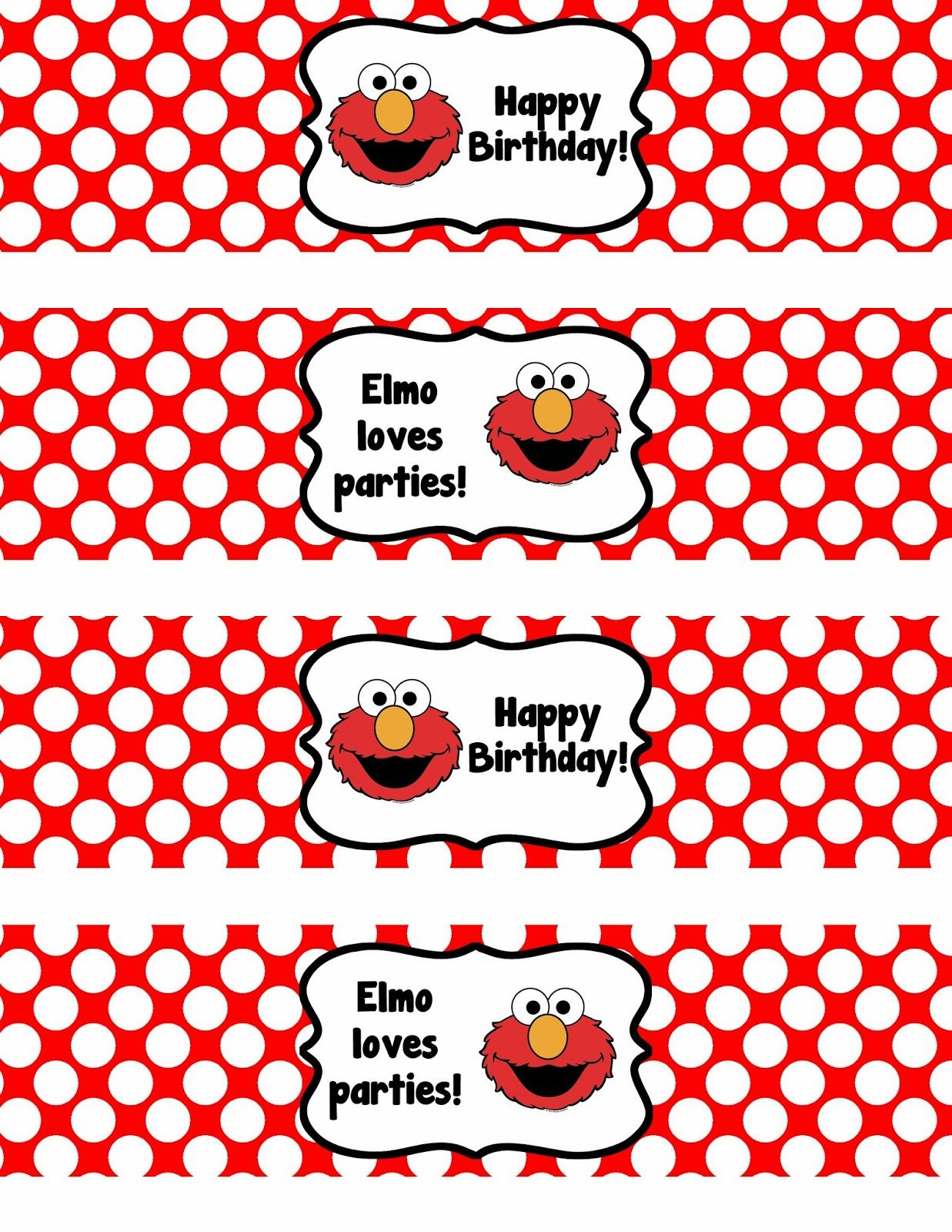 Binge Crafter: Free Printable: Elmo Happy Birthday Water Bottle ...