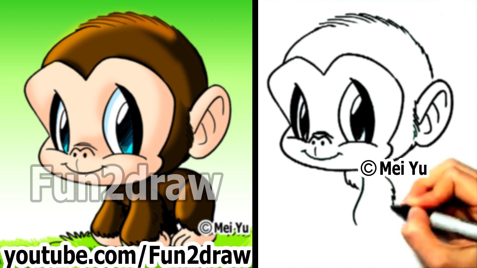 Chimpanzee How To Draw A Monkey Draw Animals Cute Art Fun2draw
