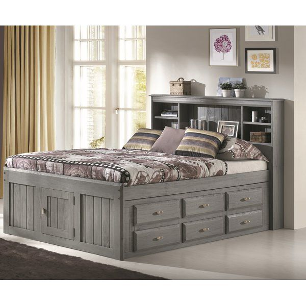 Anchor Your Kids Bedroom With A Space Saving Design With This Captains Bed Crafted Of Pine Wood In A Charcoal Gray With Images Bed With Drawers Bookcase Bed Captains Bed