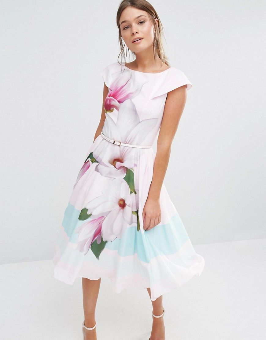 b05b7958b3004 Image 1 of Ted Baker Bromlie Prom Dress in Pink Magnolia Print