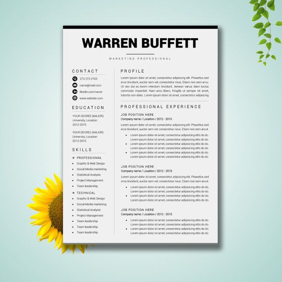 Resume Template Word | CV Template Cover Letter Paper Letter ...